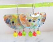Enamel Earrings, Brass Enamel Earrings, Handmade Jewelry, Mixed Media Earrings, Summer Fashion Lampwork Jewelry Gift Ideas For Her