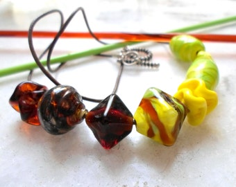 Lampwork Necklace, Handmade Jewelry,Fashion Glass Jewelry for All Seasons, Asymetric Statement Necklace, Unique Handmade Jewelry for Her