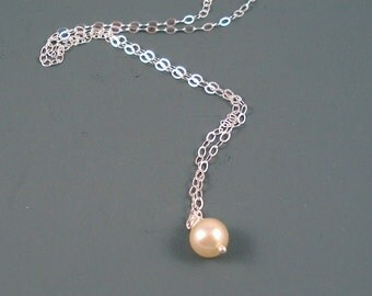Malorca Pearl Necklace with Vintage Solitaire 6MM Malorca Pearl and Sterling Silver Chain
