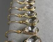 Set of 5 Crystal Glass Braid Gold Bridesmaid Earrings, Wedding Earrings, Bridesmaid Jewelry, Bridal Earrings, Bridesmaid Gift (M404G5)
