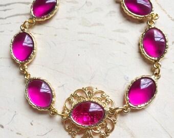 Gold Pink Bracelet Filigree by MinouBazaar