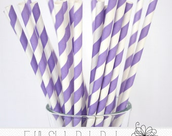 Light Purple Striped Paper Straws- Pack of 25