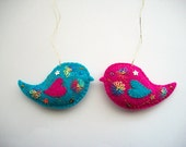 Felt Ornaments Bird Wall Hangings Tree or Kids Room Decoration Hand Embroidered Handsewn