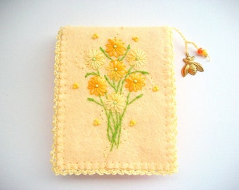Needle Book Pastel Yellow Felt Needle Keeper with Hand Embroidered Flowers and Brass Bee Charm Handsewn