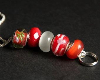 Badge Holder. Red Lanyard. Badge Lanyard. Orange Lanyard. Id Lanyard. Nurse Lanyard. Beaded Lanyard. Badge Necklace. Lampwork Glass Lanyard.