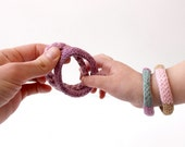 3- Cotton Toy Bracelets, Natural Kids Gifts, Organic Cotton Toy, Vegan Toys, Toddler Sensory Toys, Soft Jewelry, Play Bracelets, Waldorf Toy