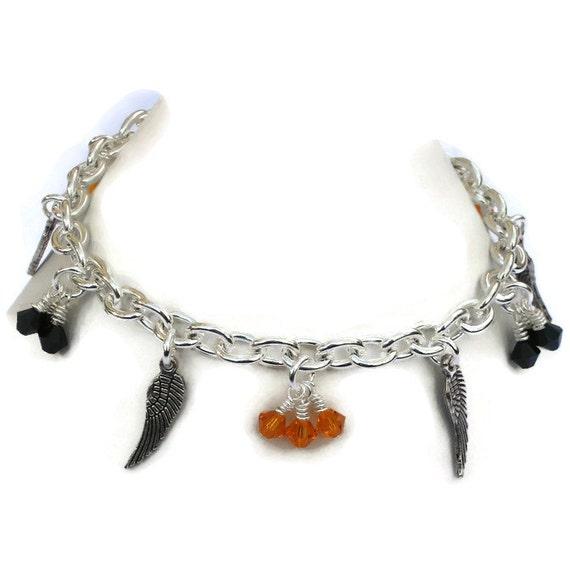 Harley Davidson Inspired Wing Charm Bracelet Gifts For Women