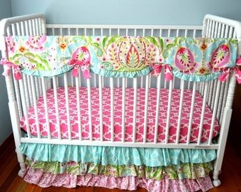 Bumperless Pink Tarika- 3 Tiered Ruffle Crib Set with Scallop Rail Cover