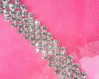 """N49 Silver Crystal Clear Rhinestone Metal Backing Trim .5"""" (N49-slcr)"""