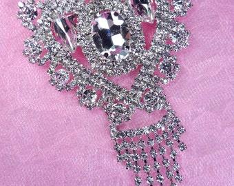 N85 Silver Crystal Clear Rhinestone Victorian Bridal Brooch  (N85-slcr)