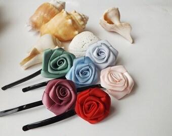 Hair Pins - Ribbon Rose, Rosette Hair Clips, Rose hair pins