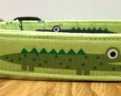 Goofy Gator Parade Blue and Orange Multipatterned Alligators on Lime Green Dog Collar