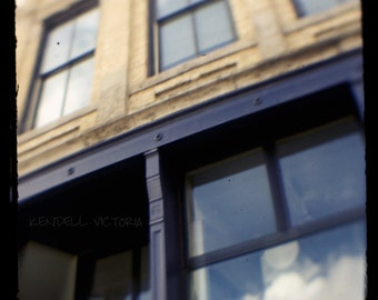 Minneapolis Warehouse District, 100 year old Building, Blue and Tan, Sky, Fine Art Photograph