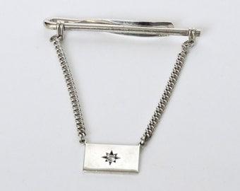 PRICE REDUCED Vintage Diamond and Sterling Tie Bar / Vintage Diamond Tie Tack / Vintage Mens Gift