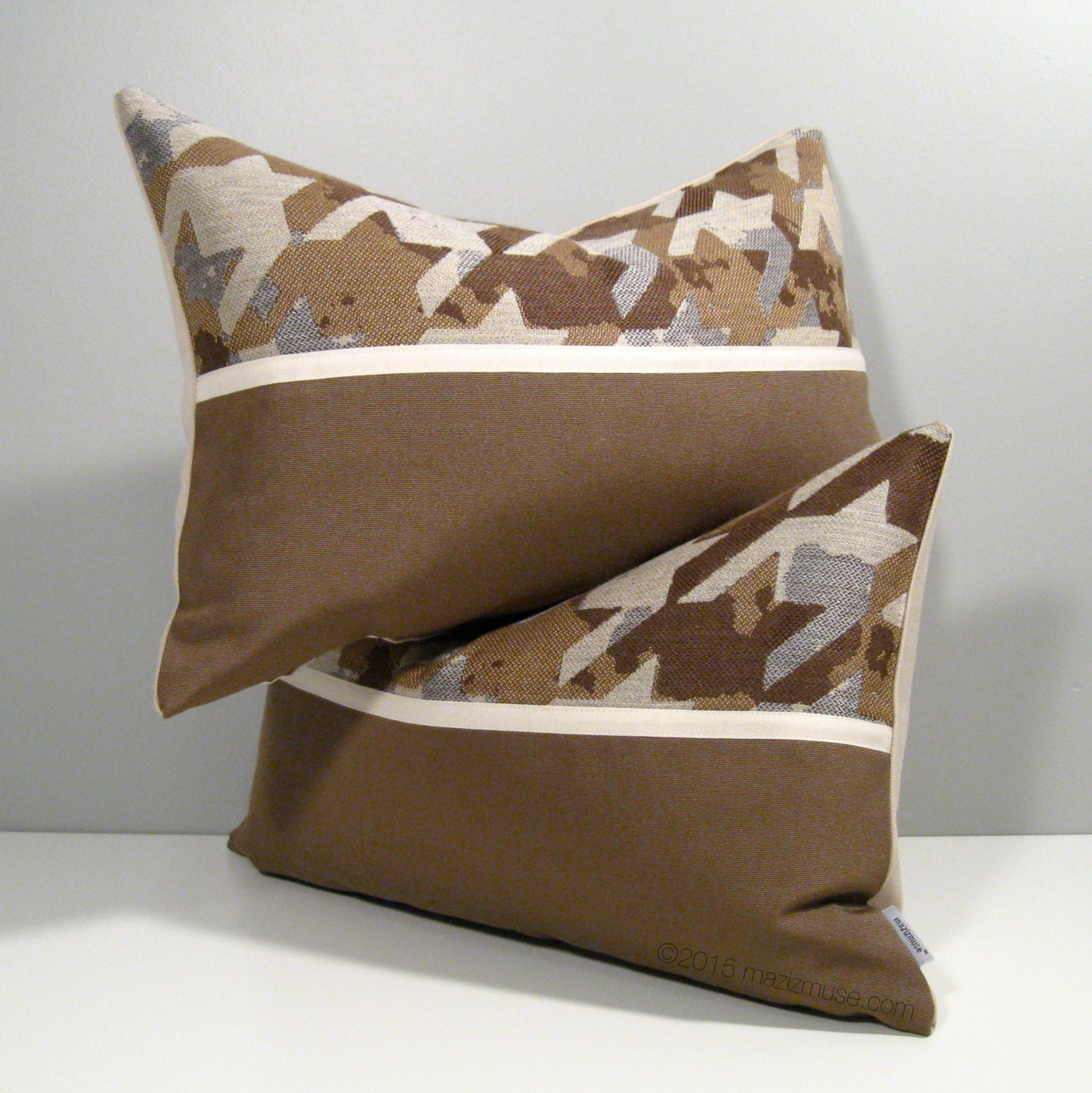 Modern Pillow Covers : SALE PAIR Brown Grey Outdoor Pillow Covers Modern
