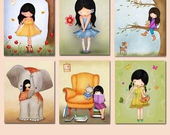 8x10 nursery art prints,Kids room decor, girls room wall art, kids bedroom art, nursery art, kids art decor, Set of six prints for kids room