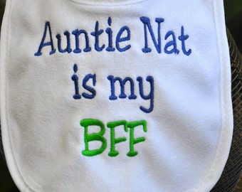EMBROIDERED BABY BIB - you pick the phrase, Personalized bib, custom bib, put any phrase or saying you like, full name/three letter monogram