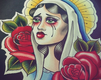 Our Lady - Original Tattoo Style Neotraditional Painting