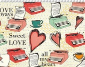 All My Heart Fabric by Clothworks Valentines Day Vintage Typewriters Coffee Hearts on Cream