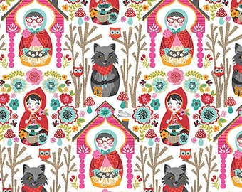 Riding Hood Fabric by Blend Fabrics The Story Grandmother in House Forest with Wolf on White