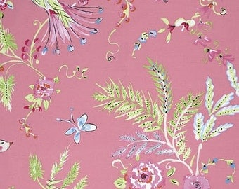 Chinoiserie Chic Fabric by Dena Designs 193 BirdSong Pastel Wispy Floral Flowers on Pink