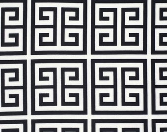 Chinoiserie Chic Fabric by Dena Designs 196 Frette Geometric Tile Maze in Black on White