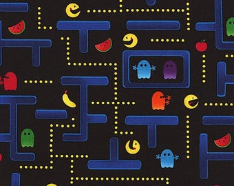 Timeless Treasure Novelty Fabric Pac Man Arcade Game Screen Shot with Pathways on Black