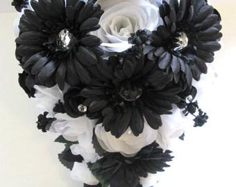 """17 piece Wedding Silk flower Bouquet Bridal BLACK DAISY WHITE Silver package flowers bouquets arrangements centerpieces """"RosesandDreams"""""""