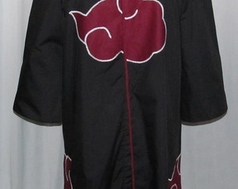 Naruto Shippuden Akatsuki Cosplay Costume Coat Black and Red Cloud Anime Adult Plus Size S M L XL XXL