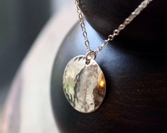 "Large ""Soleil"" Hammered Disc Necklace - 14K Goldfilled"