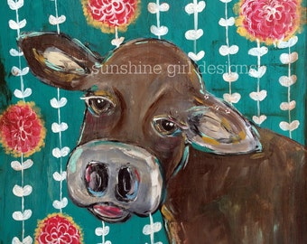 cow,teal with flowers, farm animal print, 8 x 10 print