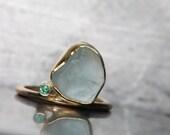 Alluvial Aquamarine Emerald Gold Ring Luxurious Elegant 14k Yellow Gold Blue Green Rough Gemstone March Birthstone Gift - Tumble de Luxe