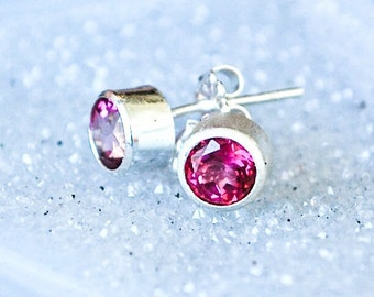 Pink Topaz Silver Earrings - The Madeleine
