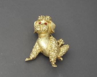 Trifari Poodle Brooch, Trifari Dog Brooch, Trifari Dog Pin, Trifari Animal Brooch, Trifari Jewelry, Gold Brooch, Pet Jewelry