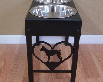 Boxer raised dog bowls powder coated steel metal art feeder stand