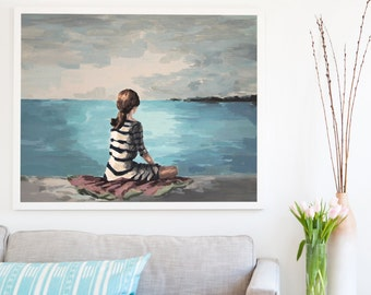 Distant Island . extra large wall art . giclee print