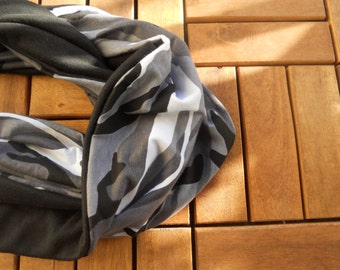 Black White and Grey fatigue Infinity Scarf/ Black and fatigue Infinity Scarf