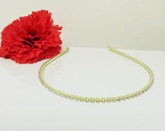 Honeydew Green Satin Ribbon Enhanced Rhinestone Bridal Headband for Bridesmaid, Prom, Flower Girl or Wedding Party