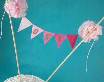 "Cake banner, smash cake, pink ombre, gold, birthday bunting,""ONE"" I303 - birthday cake topper"