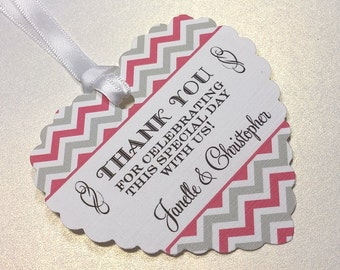 Set of 12 Heart Shape Favor Tags, Gift Tag, Chevron Stripes, Wedding, Bridal, Baby Shower, Birthday Party, Lots of Colors