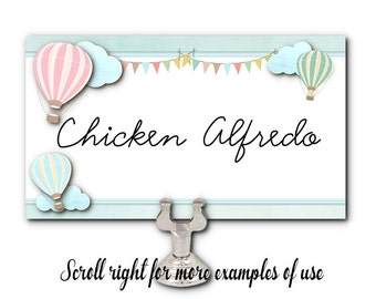 Blank Table Cards, Name Cards, Food Label Cards, Pastel Hot Air Balloons, Bridal or Baby Shower, Wedding, Birthday, Set of 10 Cards