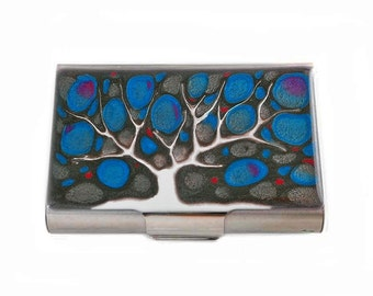Large Business Card Case Hand Painted Enamel  Tree of Life Metal Wallet Fuchsia and Turquoise Custom Colors and Personalized Options