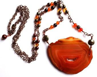 agate slice statement necklace, amber, garnet, pyrite, smokey quartz, carnelian beaded chain, bronze wire, long boho necklace, unique ooak