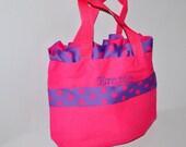 Pink Personalized Polka Dot Bag with Name Embroidered on it. Pink Ruffle Bag. Dance Bag, Swim bag, Book Bag, Princess Bag, Easter Basket Bag
