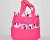 Personalized Pink Army Bag with Name Embroidered on it, Ruffle Army Ribbon. Dance Bag, Swim bag, Book Bag, Army Girl Bag, Easter Basket Bag