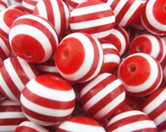 """16mm (5/8"""") Round Red and White Stripe Acrylic / Plastic Opaque Beads (18 pcs). 2.59mm hole.  032005"""