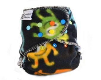 Cloth Diaper Cover OS, Fleece - Monsters, black