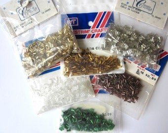 Six Packages Bugle Beads, Assorted Colors made in Taiwan