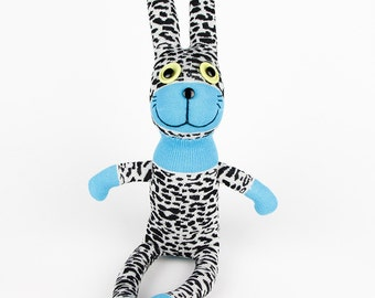 Handmade Leopard Sock Rabbit Bunny Stuffed Animals Doll easter gift