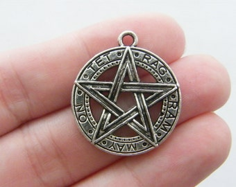 BULK 10 Pentagram pendants antique silver tone HC87